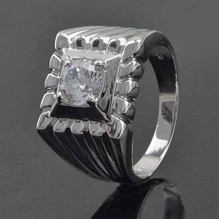 cool 9k white gold filled cz mens ring size 10
