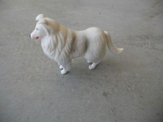 Newly listed White Collie Sheep Dog Toy Hard Plastic Tail & Front Legs
