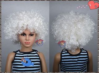 Unisex White Afro Kids Children Halloween Wigs (fits from baby to