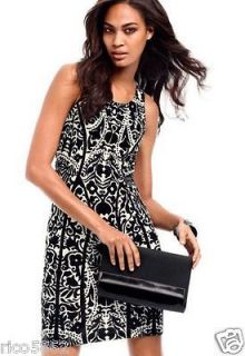 BLACK & WHITE LACE PRINT JERSEY BODYCON WIGGLE DRESS MED 10/12 or