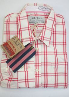 NEW JACK WILLS Womens Carincross Classic Red Checked Shirt (£59) UK14