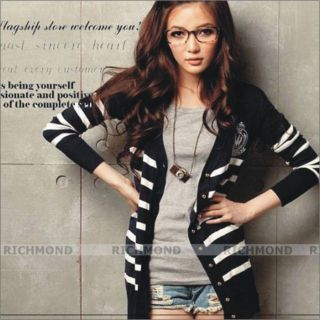 New Women Cardigan Striped Sweater Outwear No Stripes on Shoulder Tops