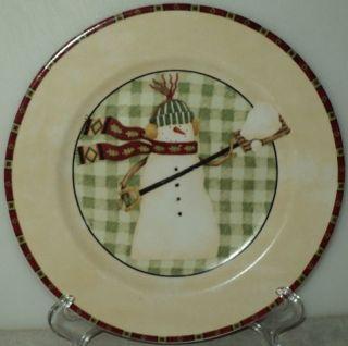 SNOWMEN Debbie Mumm Salad Plate Zak Designs Shoveling Snow Snowman