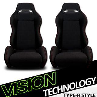 2x T R Type JDM Black Cloth & Red Stitch Sport Racing Bucket Seats
