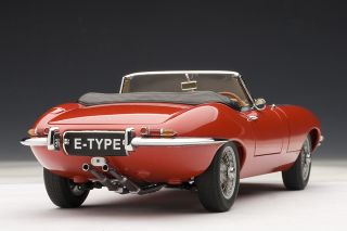 Autoart 1 18 Jaguar E Type Roadster Series I 3 8 Red Metal Wire Spokes