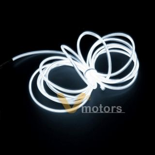10ft Flexible White EL Neon Glow Lighting Strip + Charger For Car