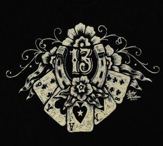 Lucky 13 Thirteen Lucky Hand Casino Poker T Shirt Tee