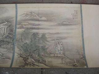 Chinese Scroll Painting on Paper Landscape 30 Feet Long SIGNED