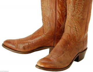 572 Used Vintage LUCCHESE 1883 Tan Mad Dog Goat Cowboy Boots Mens 12 D