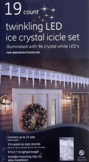 New GE 19 LED Hanging Icicle Christmas Lights Set 9 ft Long Outdoor