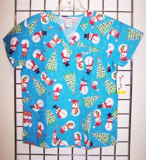 Christmas Tree Snowman Blue Print Nurses Uniform Scrub Top V Neck XS