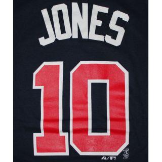 Atlanta Braves #10 Chipper Jones Player Number T Shirt Color Navy