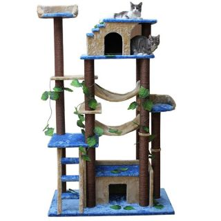Kitty Mansions Huge Cat Tree Condo House  Jungle Gym Beige New