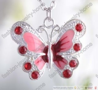 Fashion Red Crystal Cute Butterfly Necklace Pendant