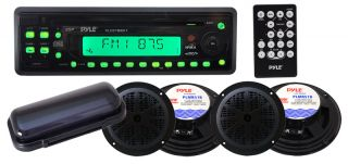 CD AM/FM Aux In Stereo Player Receiver + 4 x 100W 5.25 Speakers