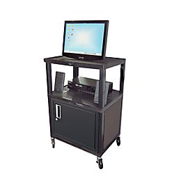 Wilson 34 Plastic Utility Cart With Locking Cabinet Black by Office