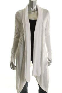 525 America White Long Sleeve Open Front Asymmetric Cardigan Sweater M