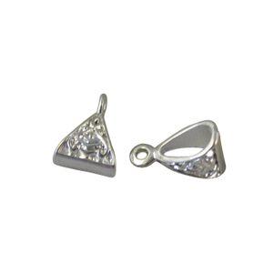 50 Silver Plate Triangle Bail Fit Charm Bracelet A10525