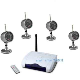 4Ghz Wireless 4 Camera Kit Home Security CCTV USB DVR System