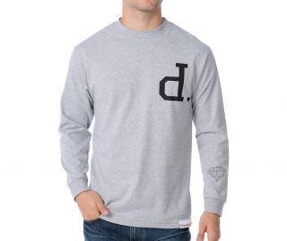 Diamond Supply Co. Un Polo D Logo Long Sleeve T Shirt Grey Black Gray