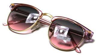 Transparent Pink Gold Frame Black to Pink Lens Sunglasses