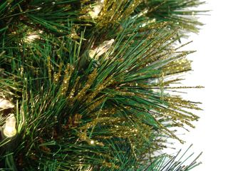 Pre Lit Slim Tattinger Long Needle Pine Artificial Christmas Tree