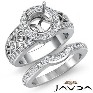 Vintage Diamond Engagement Ring Round Bridal Set 14k Gold White Semi