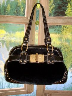 KATHY VAN ZEELAND BLACK FAUX FUR LEATHER TRIPLE SECTION E W SATCHEL