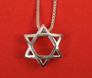 Sterling Silver Jewish Star of David Magen 3D Pendant Necklace Judaica