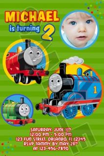 Thomas The Tank Train Birthday Party Photo Invitations
