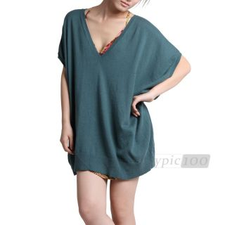 Sexy Lady Batwing Short Sleeve V Knitted Autumn Long Sweater Jumper
