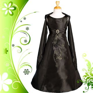 LIMITED OFFER Black Wedding Flower Girl Bridesmaid Party Dress Size 4
