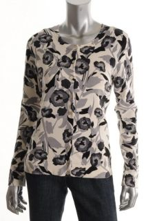 Charter Club New Black Ivory Printed Button Down Cardigan Sweater Top