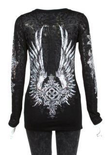 CRYSTAL CROSS ANGEL WINGS TATTOO BLACK BURNOUT L S T SHIRT L ED HARDY