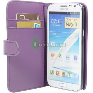 Purple Wallet Pouch Leather Case Cover For. Samsung Galaxy Note 2 II