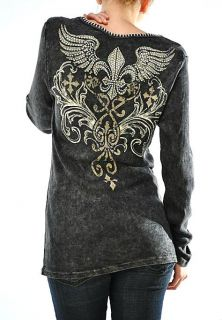 CRYSTAL FLEUR CROSS ANGEL WINGS SCROLLS TATTOO BLACK THERMAL T SHIRT