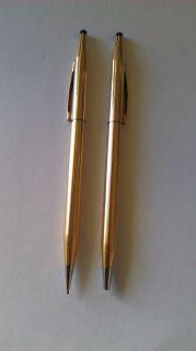 Vintage A T Cross Classic Century 14K Gold Pen Pencil Set 150105