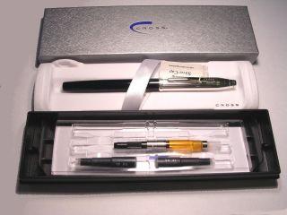 NOS 2002 A.T. Cross Century II sterling silver & black fountain pen