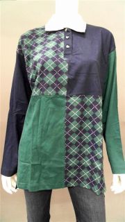 BCI Clothing Misses M Stretch Polo Top Green Navy Argyle Short Sleeve