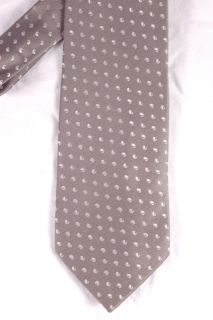 silk tie in silver gray with woven white paisley