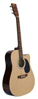 New Eleca Acoustic Electric Cutaway Guitar with 3 Band EQ   Natural