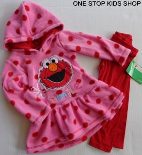 Elmo or Abby Cadabby Girls 2T 3T 4T Hoodie Set Outfit Shirt Pants