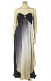 NWT ABS Allen Schwartz Strapless Silk Ombre Dress 14 Pleated Jeweled