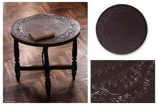 Colonial Ivy Peru Art Hand Tooled Leather Cedar Round End Accent Table