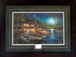 Jim Hansel After Dark Cabin Lake Boat Print Framed 33 x 25