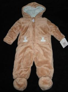 Absorba Baby Infant Boys Girls Beige Plush Bunting Snowsuit 6M 9M $65