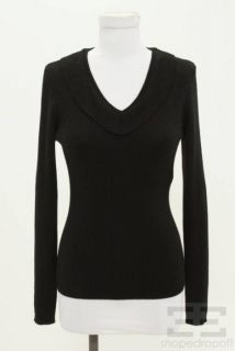 Max Mara Black Wool Ribbed V Neck Sweater Size M