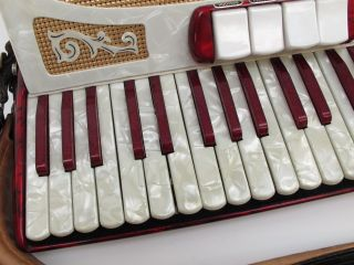 Francini Pearl Red Italian Accordion w Case