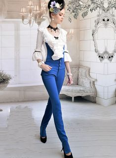 New Womens Slim Overalls Suspender Trousers Low Waist Straight Long