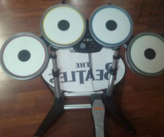 BEATLES ROCK BAND DRUMS SET NINTENDO WII COMPLETE W/ DONGLE , BANNER